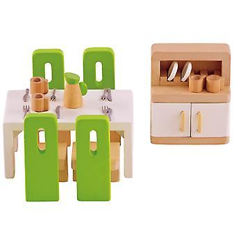 Jeu d'imitation enfant jeux jouets Meubles de salle à manger pour maison de poupée 0102105
