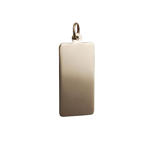 9ct Gold 26x13mm plain rectangular disc