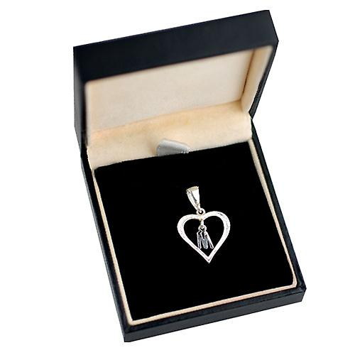 Silver heart Pendant with a hanging Initial M