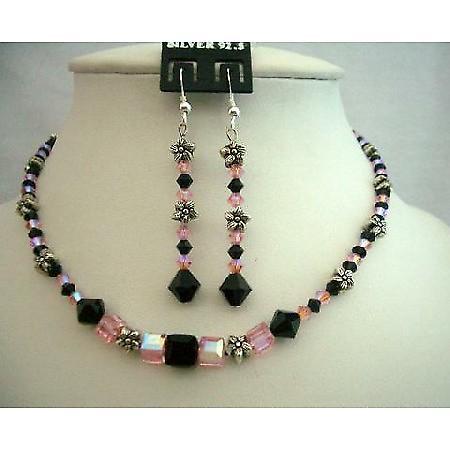 Necklace Rose AB Crystal & Jet Crystals Swarovski Necklace Bali Silver