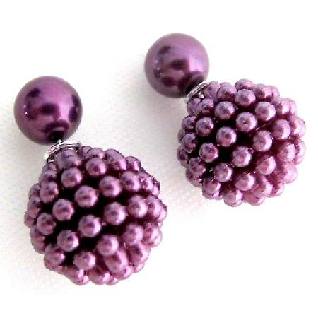 Purple Stud Earrings Double Sided Purple Beaded Post Earrings