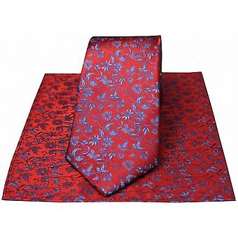 David Van Hagen kleine florale Krawatte und Einstecktuch Set - rot/blau
