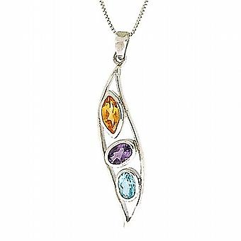 TOC 925 Silver Synthetic Citrine-Amethyst-Aqua Crystal Pendant  18 Inch Chain