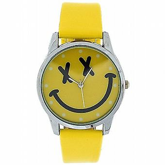 TOC Girls Analogue Yellow Emoticon Face & Yellow PU Strap Watch EYW001