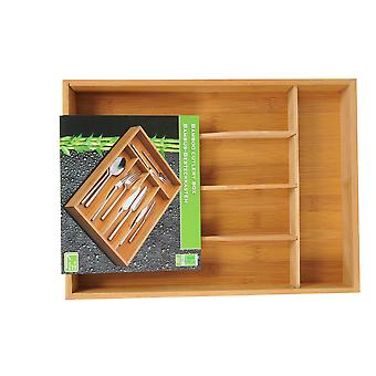 Bamboo Wood Cutlery Box with 5 Compartments for easy storage