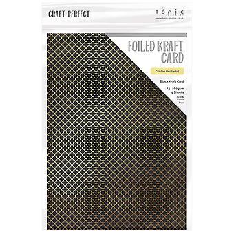Craft Perfect by Tonic Studios A4 Foiled Craft Card Golden Quatrefoil