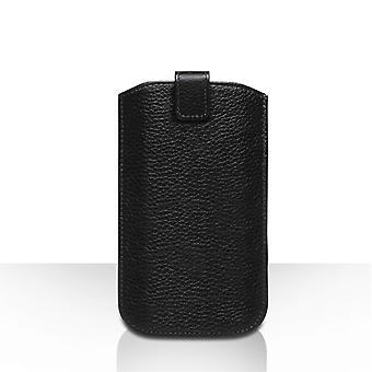 Caseflex Large Real Leather Return Phone Pouch Black