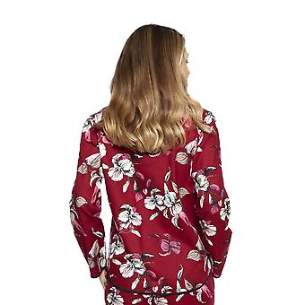 Cyberjammies 4268 Women's Alice Burgundy Red Mix Floral Cotton Pyjama Top
