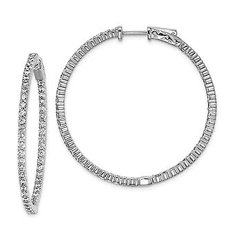 925 Sterling Silver Polished Hinged hoop Safety clasp Rhodium-plated Cubic Zirconia Round Hoop Earrings