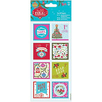Papermania Folk Christmas Tear Off Toppers 16/Pkg-Linen Finish PM157949