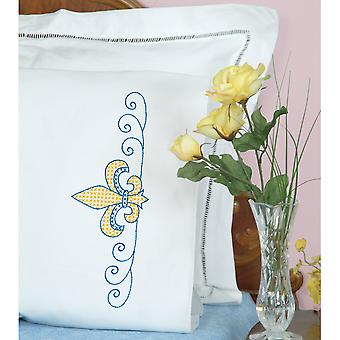 Stamped Pillowcases W/White Perle Edge 2/Pkg-Fleur De Lis 1600 669