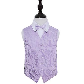 Boy's Lilac Passion Floral Patterned Wedding Waistcoat & Bow Tie Set