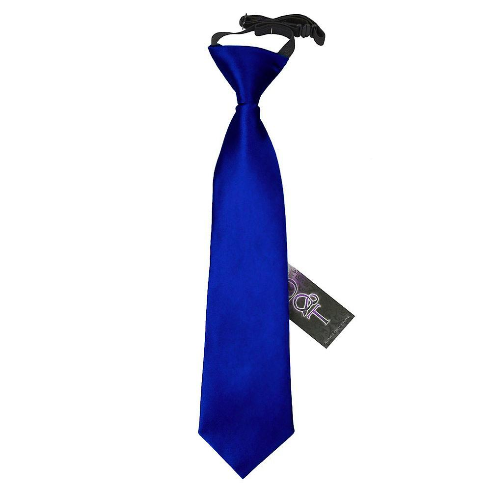 Boy's Plain Royal Blue Satin Pre-Tied Tie (2-7 years)