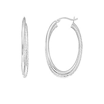 Sterling Silver Rhodium Plated Twisted Tube Oval Hoop Earrings, Diameter 35mm