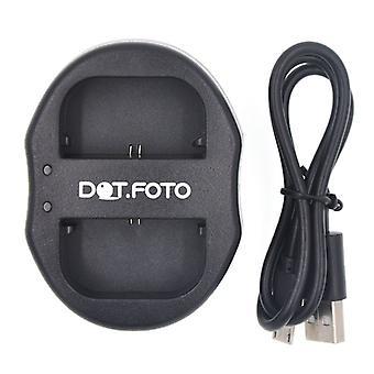 Dot.Foto Canon LP-E6, chargeur de batterie USB double LP-E6N pour Canon EOS 5D Mark II, 5D Mark III, 5D, 5D R, 7D, 6D, 7D Mark II, 60D, 60Da 70D, XC10