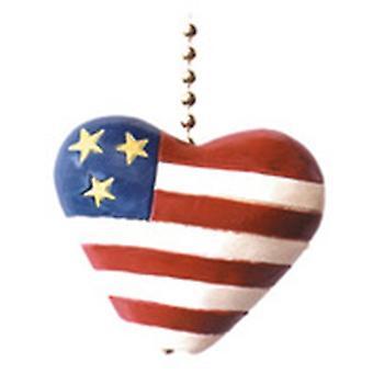Red White  Blue Flag Heart Patriotic Ceiling Fan Light Pull