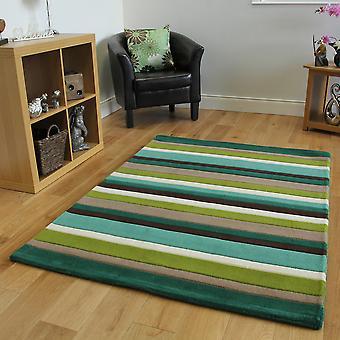 Green & Brown Striped Wool Rug Kingston