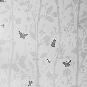Fine Decor Dazzle Leaf Tree Glitter Branch Silver Butterfly Off White Wallpaper