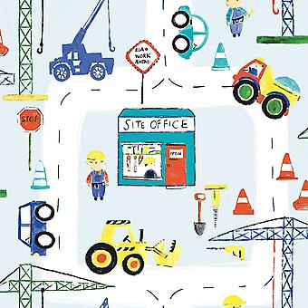 Road Works Wallpaper Trucks Diggers Crane Cars Children's Bedroom Multicoloured