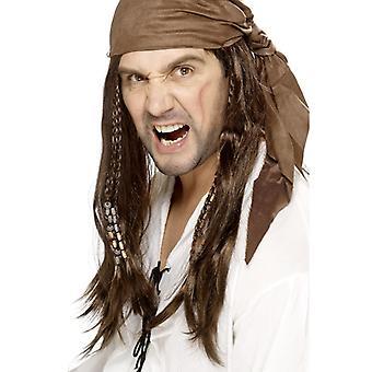 Buccaneer pirat parykk, Brown