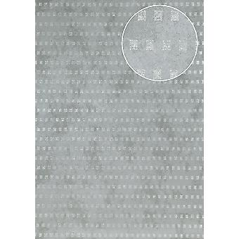 Graphic wallpaper Atlas ICO-5071-4 non-woven wallpaper smooth, shimmering with abstract pattern blue-pigeon grey silver 7,035 m2