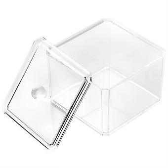 TRIXES Clear Acrylic Cosmetic Cotton Pad Desk Makeup Holder