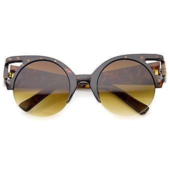 Kvindernes fed rundt linse halv ramme udskæring Cat Eye solbriller 50mm