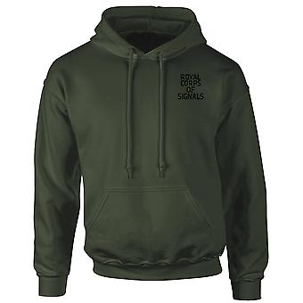 Royal Corps Of Signals Text Embroidered Logo - Official British Army Hoodie Hooded Sweatshirt