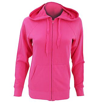 Fruit Of The Loom Ladies Fitted Lightweight Hooded Sweatshirts Jacket / Zoodie (240 GSM)