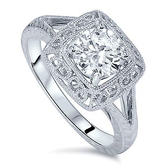 1 1/15ct Solitaire Diamond Engraved Engagement Ring 14K White Gold