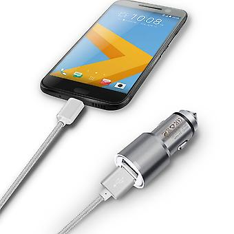 ONX3 (Grey) Quick Charge Dual Port USB Full Aluminium Cased Car Charger Adaptor (3.1A/24W) With Break Glass Safety Hammer & 1 Meter Micro-USB Nylon Braded Data Cable For Nokia 130 (2017)