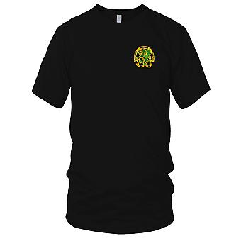 US Army - Chemical School Dragon Embroidered Patch - Elementis Regamus Proelium Mens T Shirt