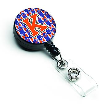 Letter K Football Green, Blue and Orange Retractable Badge Reel