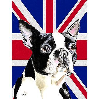 Boston Terrier con dimensioni di casa della tela di bandiera inglese Union Jack bandiera britannica