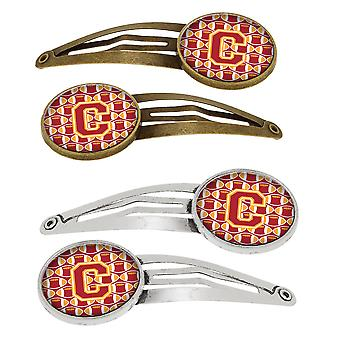 Letter C Football Cardinal and Gold Set of 4 Barrettes Hair Clips