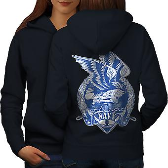 USA Navy Eagle Fashion Women NavyHoodie Back | Wellcoda