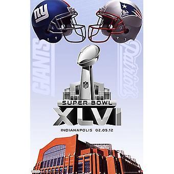 2012 New York Giants vs New England Patriots Indianapolis Super Bowl - impresión del cartel de evento