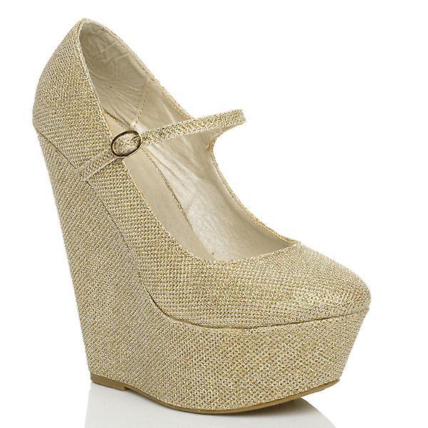 Ajvani womens high wedge heel mary jane strap platform court shoes pumps