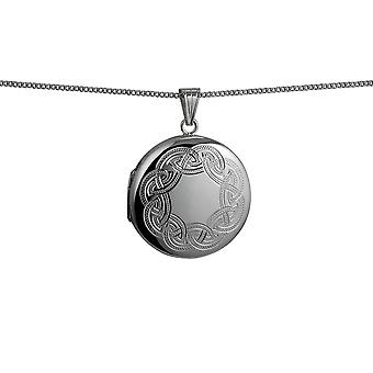 Silver 29mm Celtic engraved round Locket with a curb Chain 24 inches