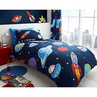 Av Space Science flickor Kids enda påslakan barn roterande sängkläder Set