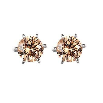 Champagne Zirconia and Silver 925 Swarovski crystal earrings