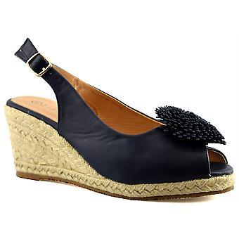 Ladies Womens Buckle Espadrilles Mid Wedge Heel Peep Toe Sandals Shoes