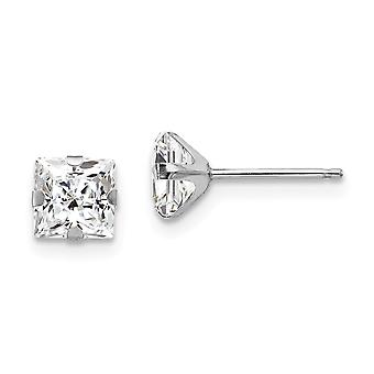 14k White Gold Polished Prong set 5mm Square Cubic Zirconia Post Earrings - Measures 5x5mm