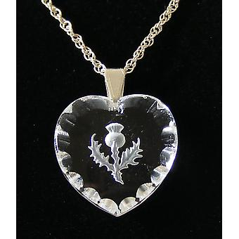 Frosted Heart Shaped Thistle Crystal Pendant