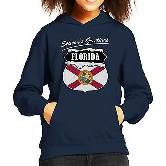 Seasons Greetings Florida State Flag Christmas Kid's Hooded Sweatshirt
