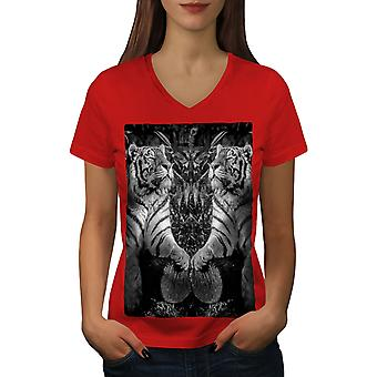 Tiger Wild Beast Women RedV-Neck T-shirt | Wellcoda