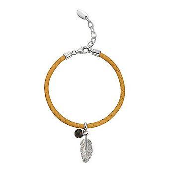 ESPRIT Дамы браслет серебряный кожаный перо специальные бежевый ESBR91099A170