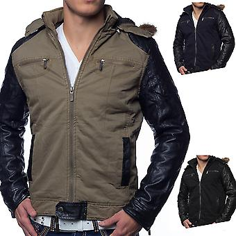 Men's Winter Jacket Riverton jacket leather sleeves quilted warm lining Hood Fur