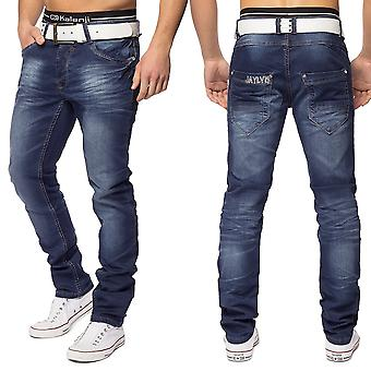 Men's 5-Pocket Jeans trousers slim fit straight denim washed dark blue stretch