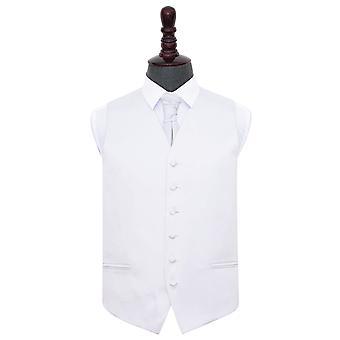 Colete de cetim casamento branco liso & Cravat conjunto